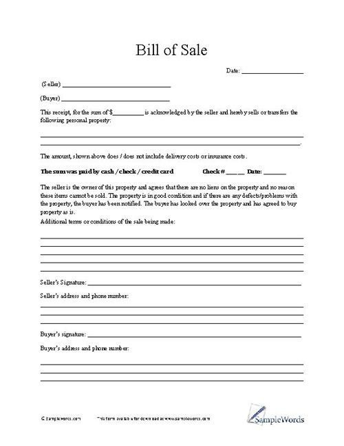 Bill Of Sale Template Texas Bill Of Sale form Business forms