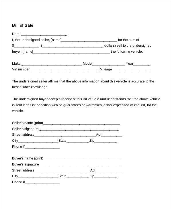 Bill Of Sale Template Texas Free Bill Of Sale form Template Vehicle Car Auto Dmv