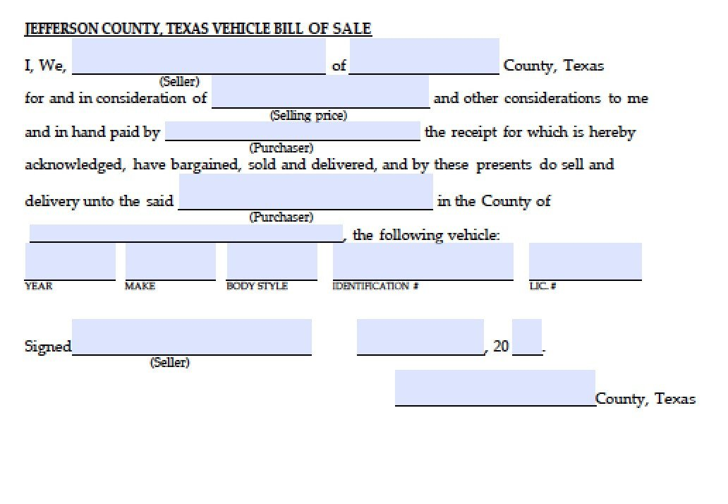 Bill Of Sale Template Texas Free Jefferson County Texas Vehicle Bill Of Sale form