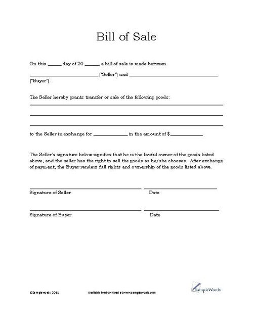 Bill Of Sale Template Texas Free Printable Bill Of Sale Templates form Generic