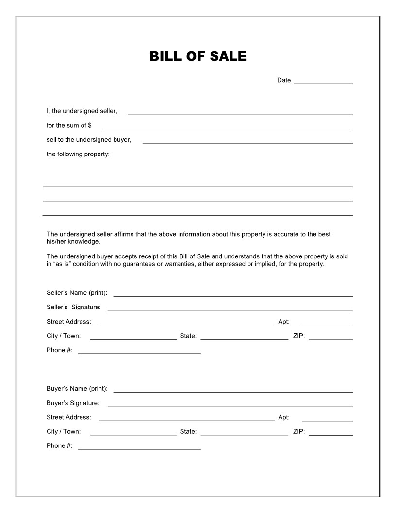 Bill Of Sale Template Texas Free Printable Blank Bill Of Sale form Template as is