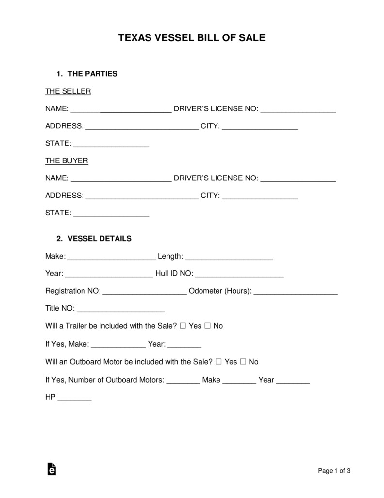 Bill Of Sale Template Texas Free Texas Boat Bill Of Sale form Word Pdf