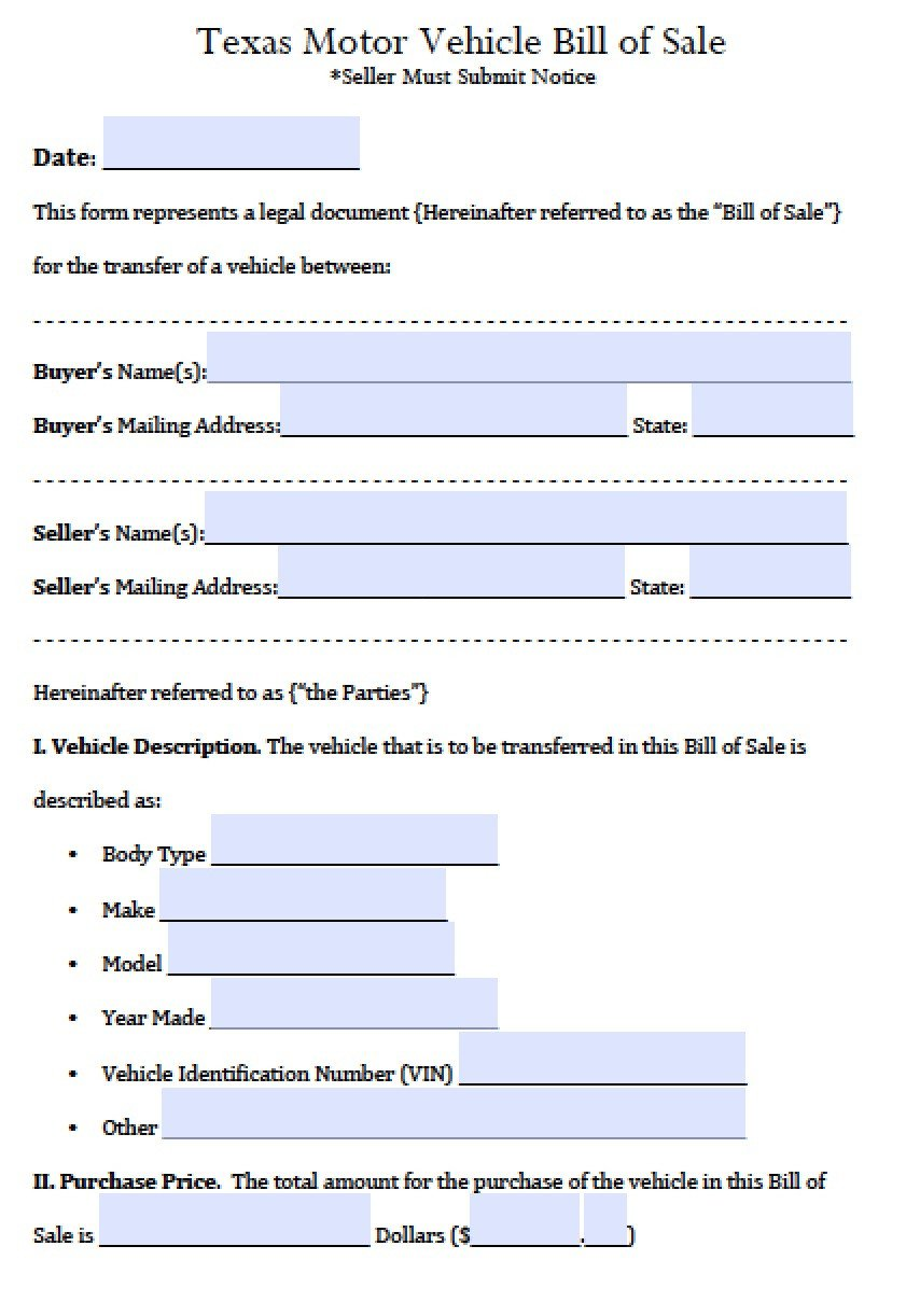 Bill Of Sale Template Texas Free Texas Motor Vehicle Bill Of Sale form Pdf