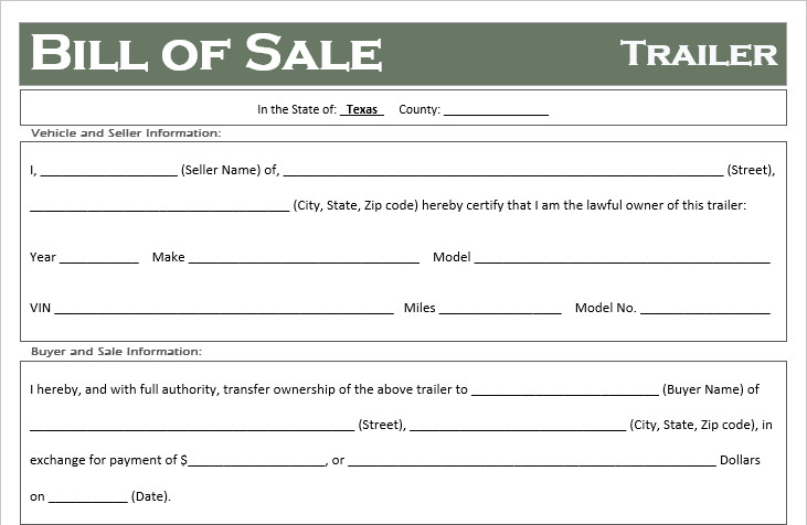 Bill Of Sale Template Texas Free Texas Trailer Bill Of Sale Template F Road Freedom