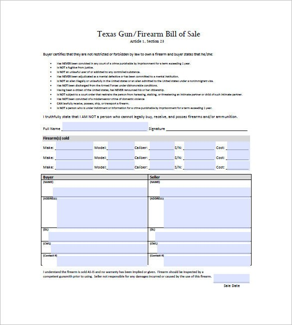 Bill Of Sale Template Texas Gun Bill Of Sale Template – 10 Free Word Excel Pdf