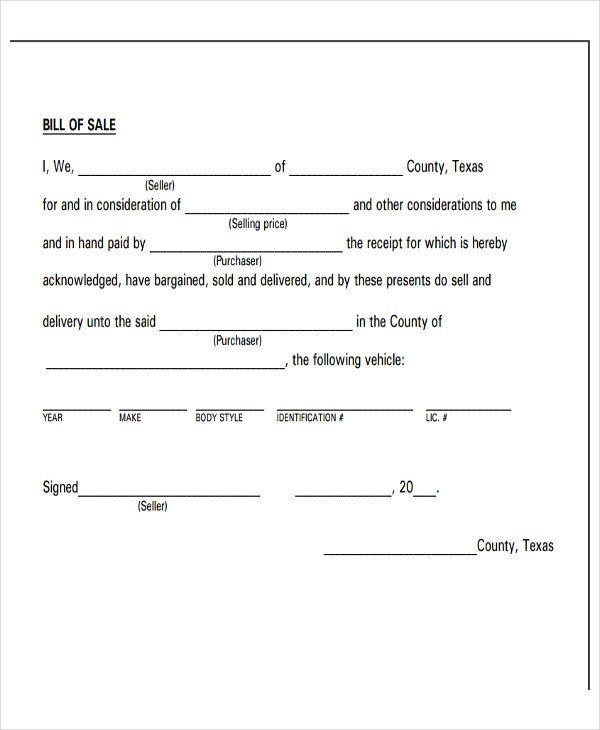 Bill Of Sale Template Texas Legal Bill Sale