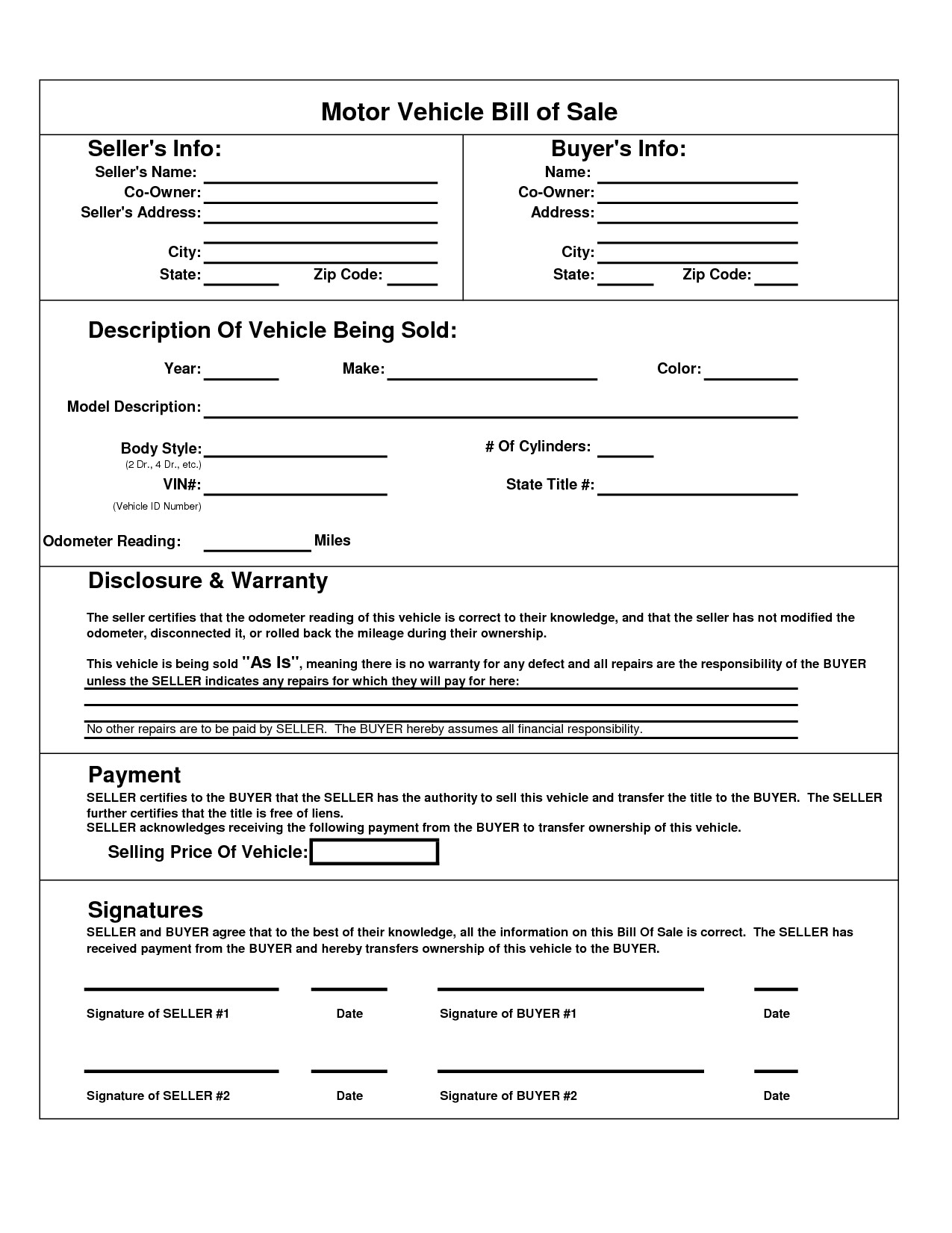 Bill Of Sale Template Texas Printable Car Bill Of Sale Pdf