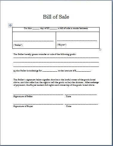 Bill Of Sale Template Texas Printable Sample Sample Bill Sale form