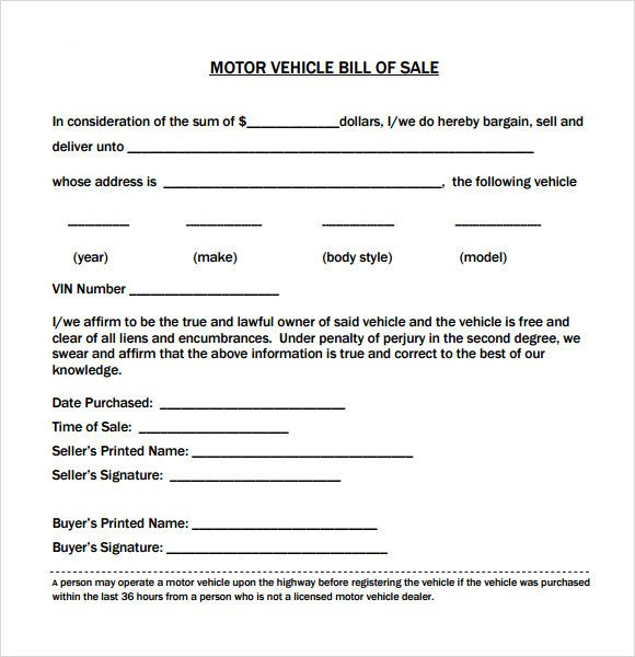 Bill Of Sale Vehicle Template 14 Sample Vehicle Bill Of Sales Pdf Word
