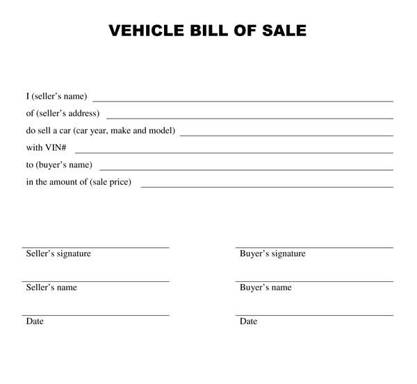 Bill Of Sale Vehicle Template Free Printable Vehicle Bill Of Sale Template form Generic