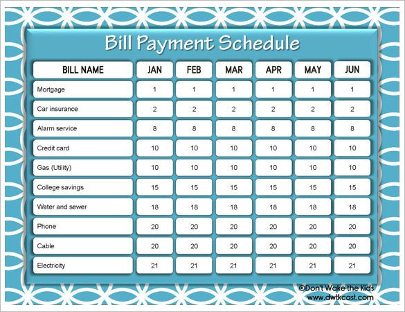 Bill Pay Calendar Template 15 Payment Schedule Template Psd Pdf Word