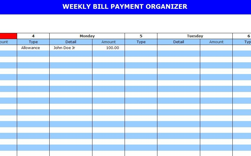 Bill Pay Calendar Template Bill Pay Calendar Template