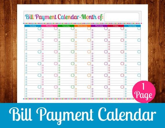 Bill Pay Calendar Template Bill Payment Calendar Instant Download Pdf Printable