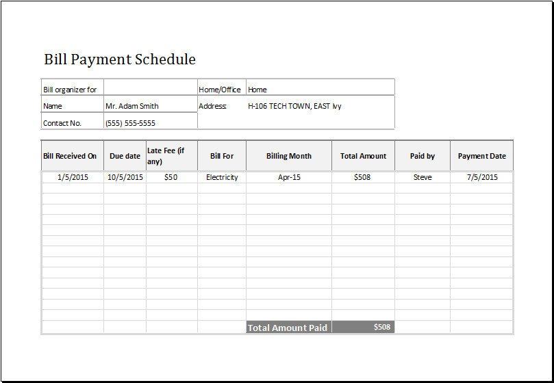 Bill Pay Calendar Template Bill Payment Schedule Ms Excel Editable Template