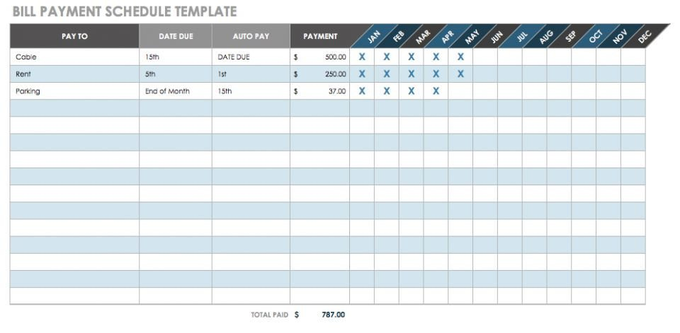 Bill Pay Schedule Template 12 Free Payment Templates