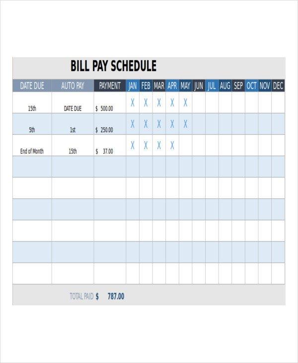 Bill Pay Schedule Template 15 Paid Bills Template
