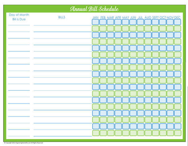 Bill Pay Schedule Template 31 Days Of Home Management Binder Printables Day 6