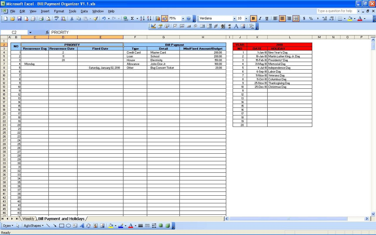 Bill Pay Schedule Template Bill Payment Calendar