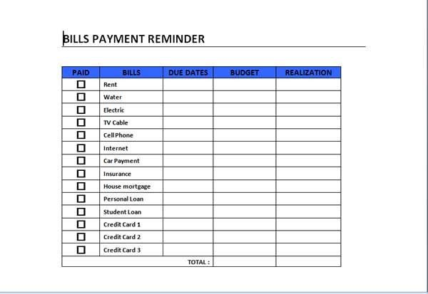 Bill Pay Schedule Template Bills Payment Schedule Template Can Act as A Guide In