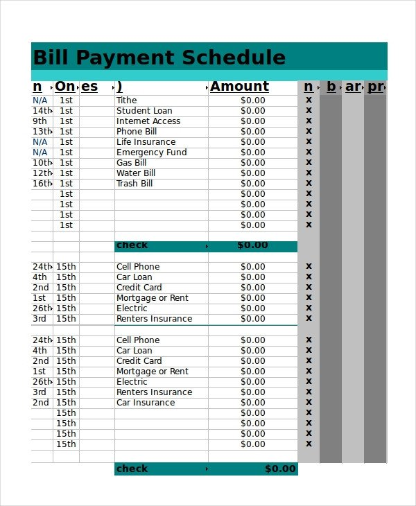 Bill Pay Schedule Template Excel Schedule Template 11 Free Pdf Word Download