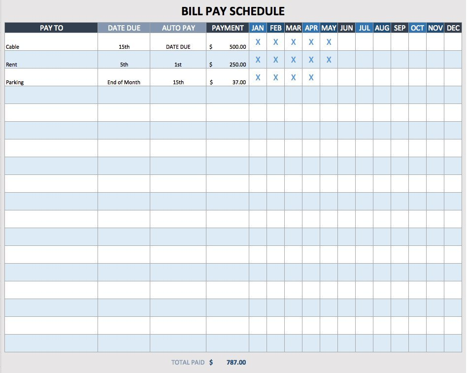 Bill Pay Schedule Template Free Weekly Schedule Templates for Excel Smartsheet