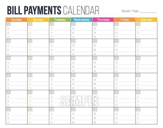 Bill Pay Schedule Template Money Management Set Editable Financial by Freshandorganized