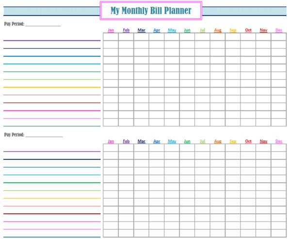 Bill Pay Schedule Template Monthly Bill Paying System
