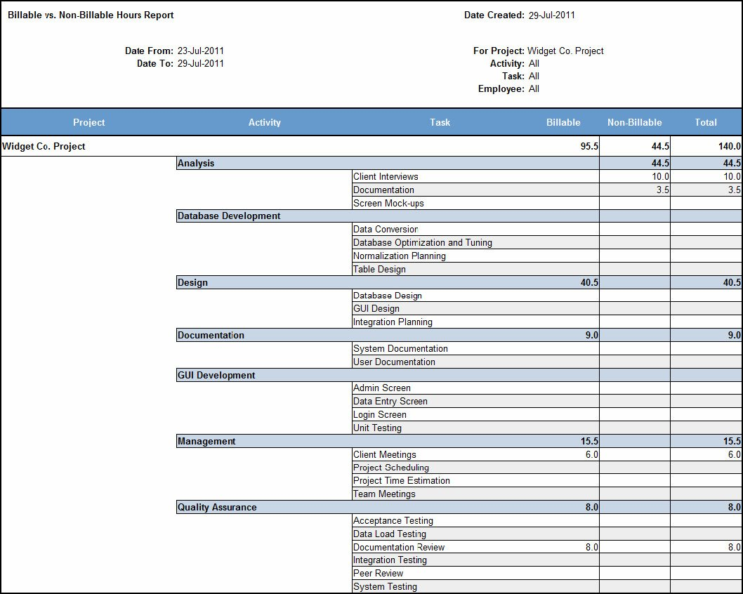Billable Hours Template Excel Free Billable Hours Template