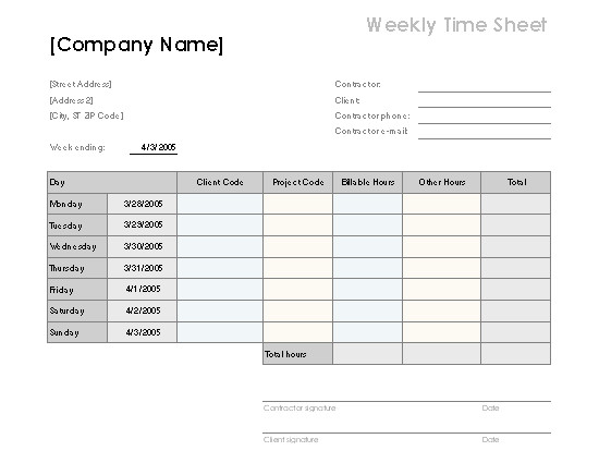 Billable Hours Template Excel Free Weekly Time Sheet by Client and Project