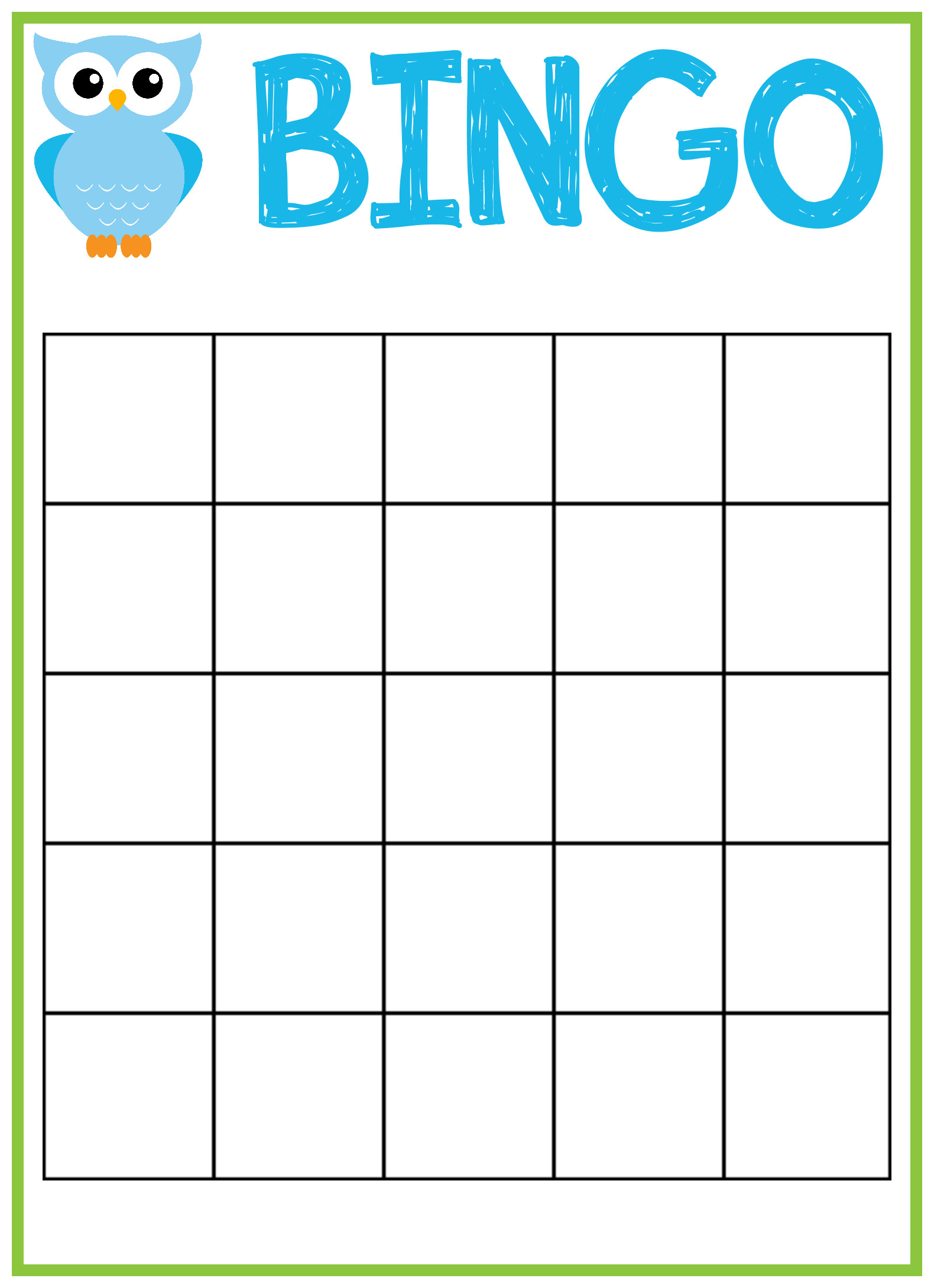 Bingo Card Template Free Baby Bingo Template