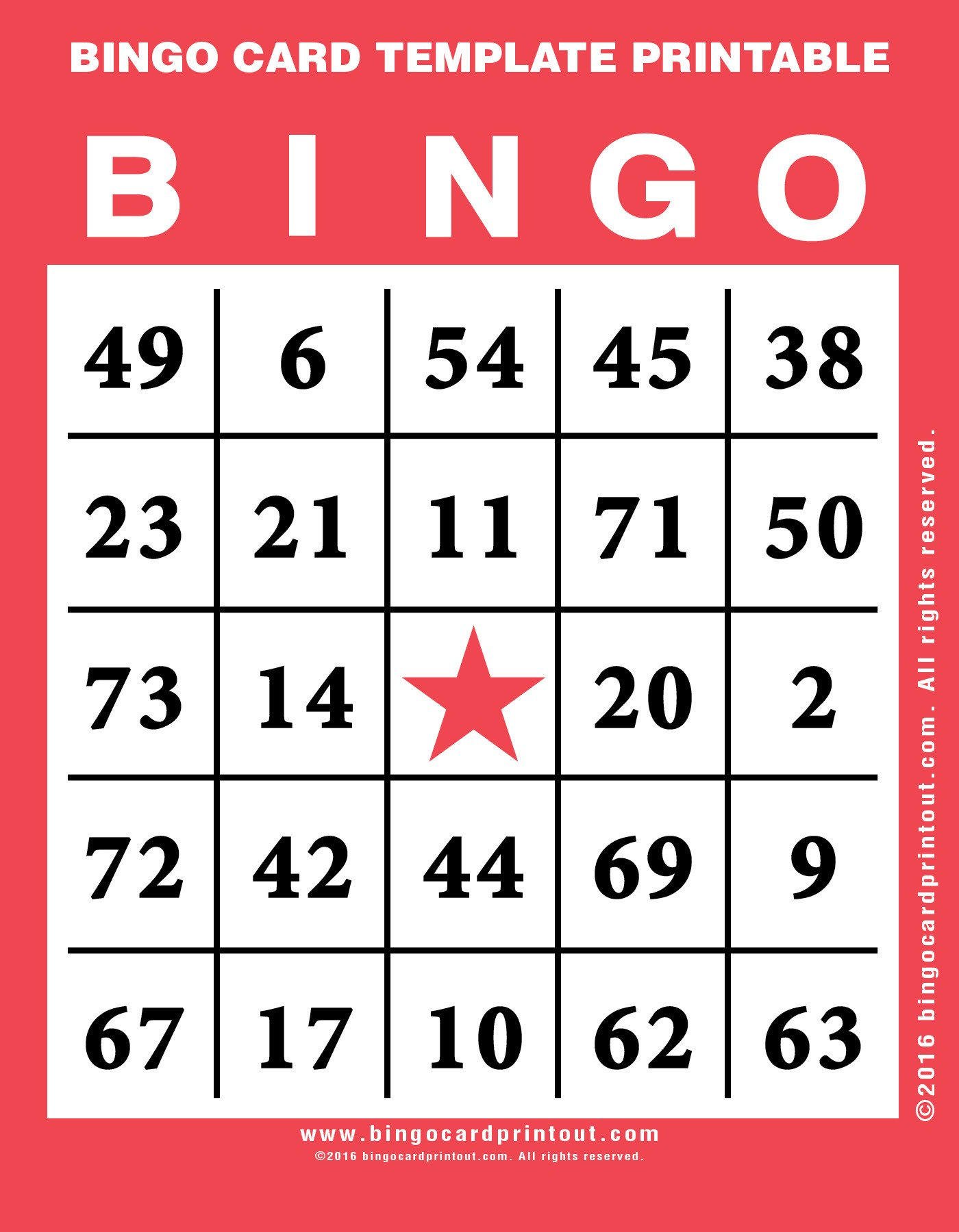 Bingo Card Template Free Bingo Card Template Printable Bingocardprintout