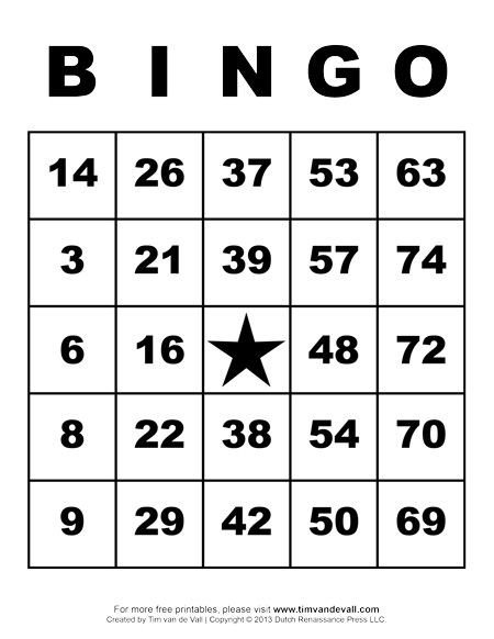 Bingo Card Template Free Printable Bingo Cards Art & Crafts for Kids
