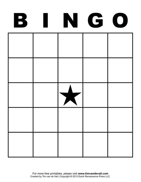 Bingo Card Template Free Printable Blank Bingo Cards for Teachers