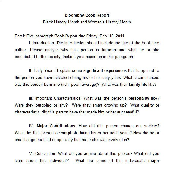 Biography Book Report Template 7 Middle School Book Report Templates & Samples Doc