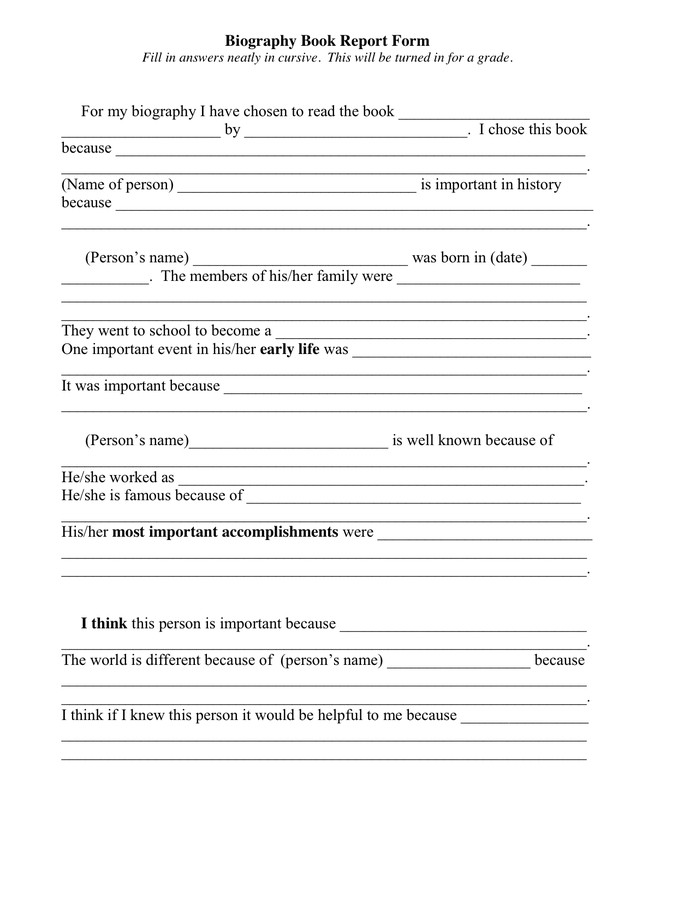 Biography Book Report Template Biography Book Report form In Word and Pdf formats