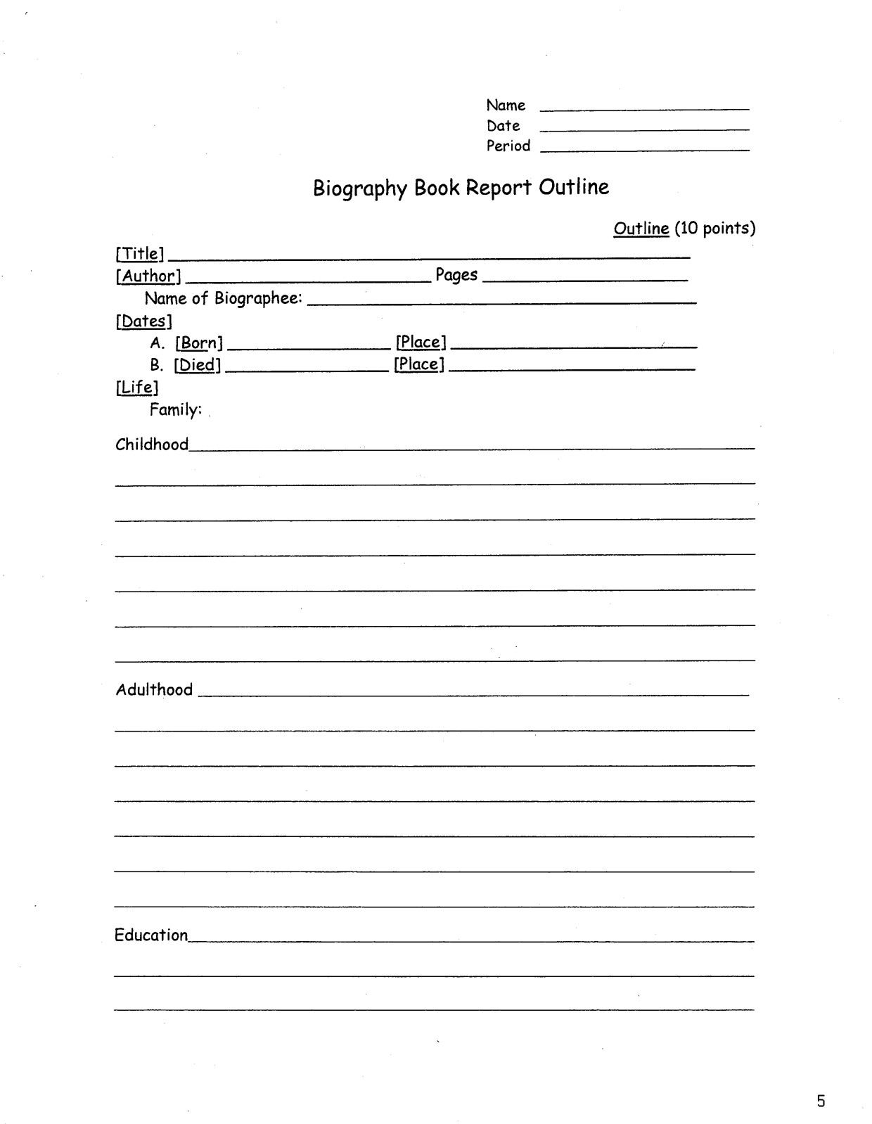 Biography Book Report Template Biography Book Report Outline Amanda Project