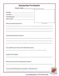 Biography Book Report Template Biography Graphic organizer Elementary