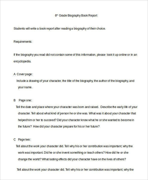 Biography Book Report Template Book Report Template 10 Free Word Pdf Documents