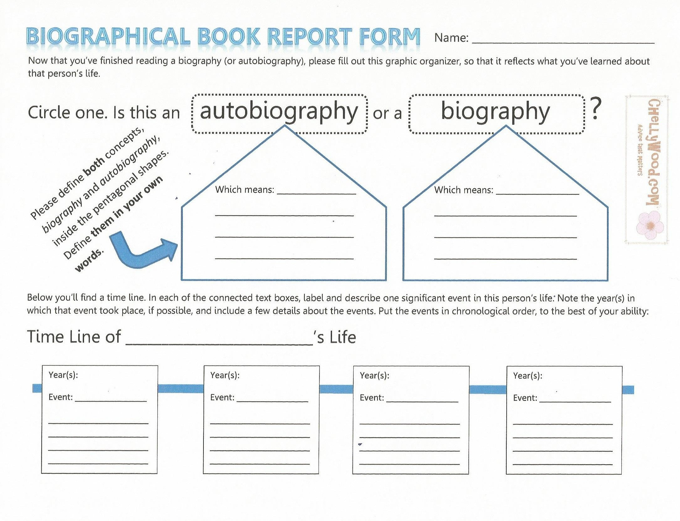 Biography Book Report Template Non Fiction
