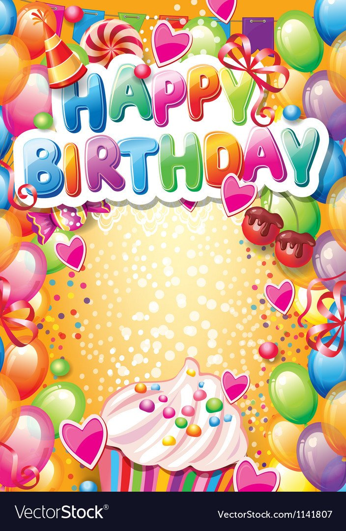 Birthday Card Template Free Template for Happy Birthday Card with Place for Vector Image