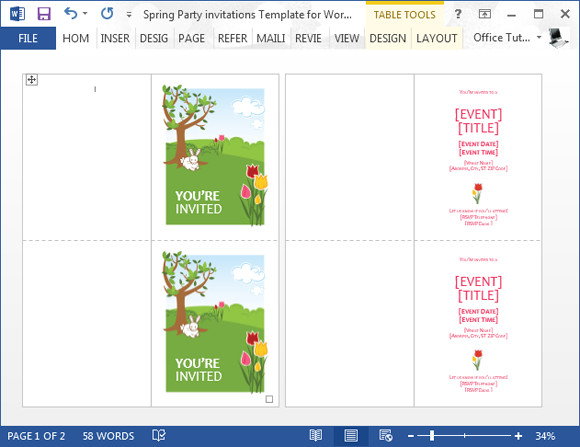 Birthday Invitation Templates Word Spring Party Invitation Template for Word