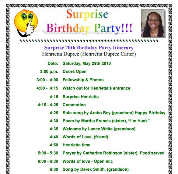 Birthday Party Program Outline 11 Birthday Itinerary Templates – Free Sample Example