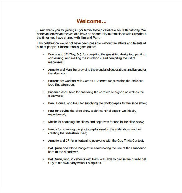 Birthday Party Program Outline 50th Birthday Party Program Template Impremedia