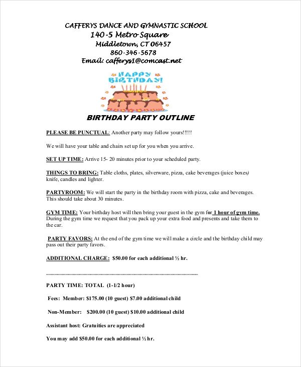 Birthday Party Program Outline 8 Program Outline Examples & Samples
