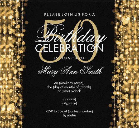 Black and Gold Invitation Template 45 50th Birthday Invitation Templates – Free Sample