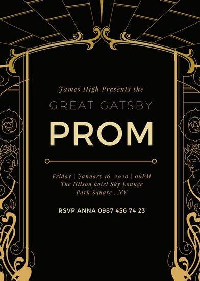 Black and Gold Invitation Template Black and Gold Art Deco Great Gatsby Invitation