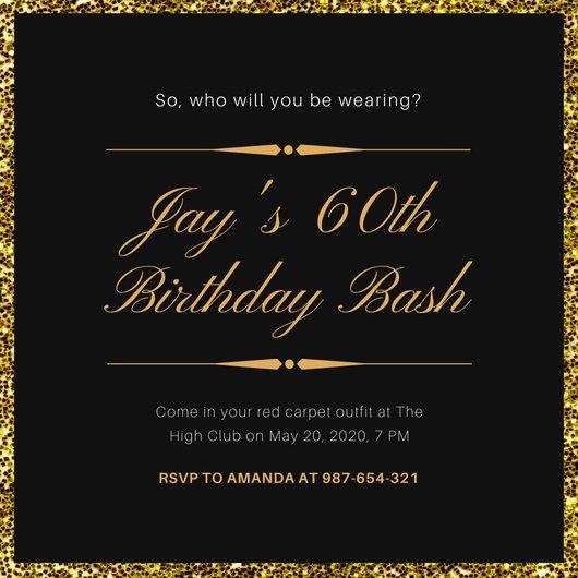 Black and Gold Invitation Template Black and Gold Glitter Background Oscar Invitation