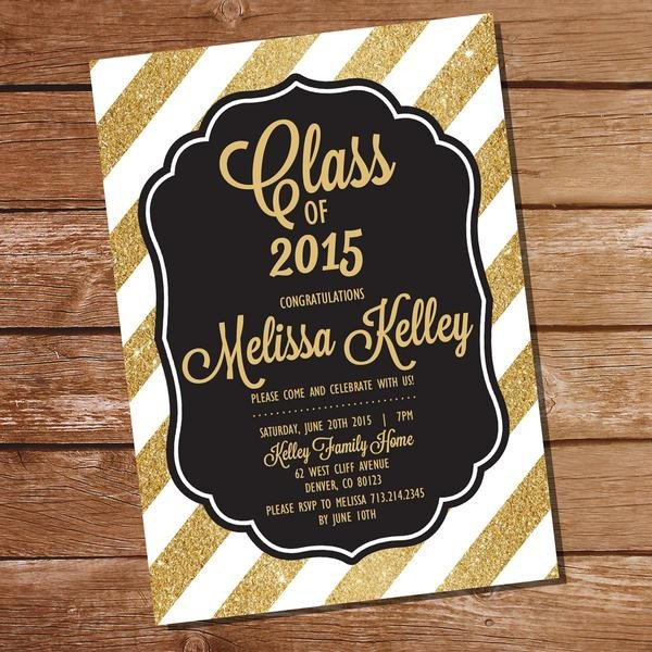 Black and Gold Invitation Template Black and Gold Graduation Invitation Template – Sunshine