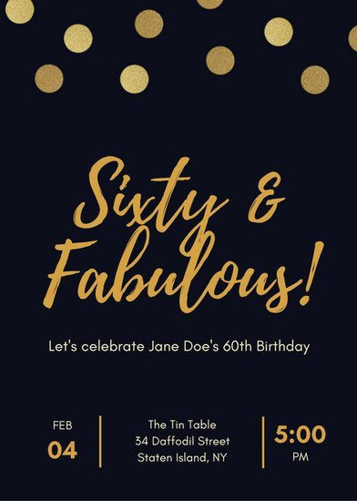 Black and Gold Invitation Template Black and Gold Polka Dot 60th Birthday Invitation
