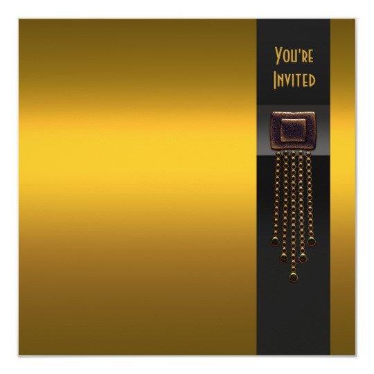 Black and Gold Invitation Template Black Gold Art Deco Party Invitation Template
